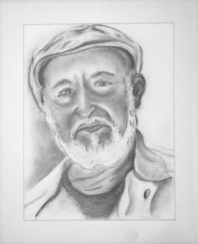 Portrait of Papa Mangione, Charcoal