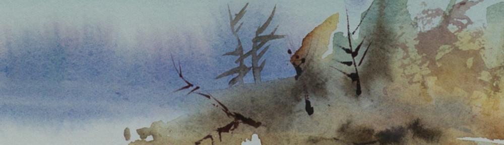 Dawn, Blue Mountain Lake, Watercolor, original 5x7, Prints 12x16 and 18x20